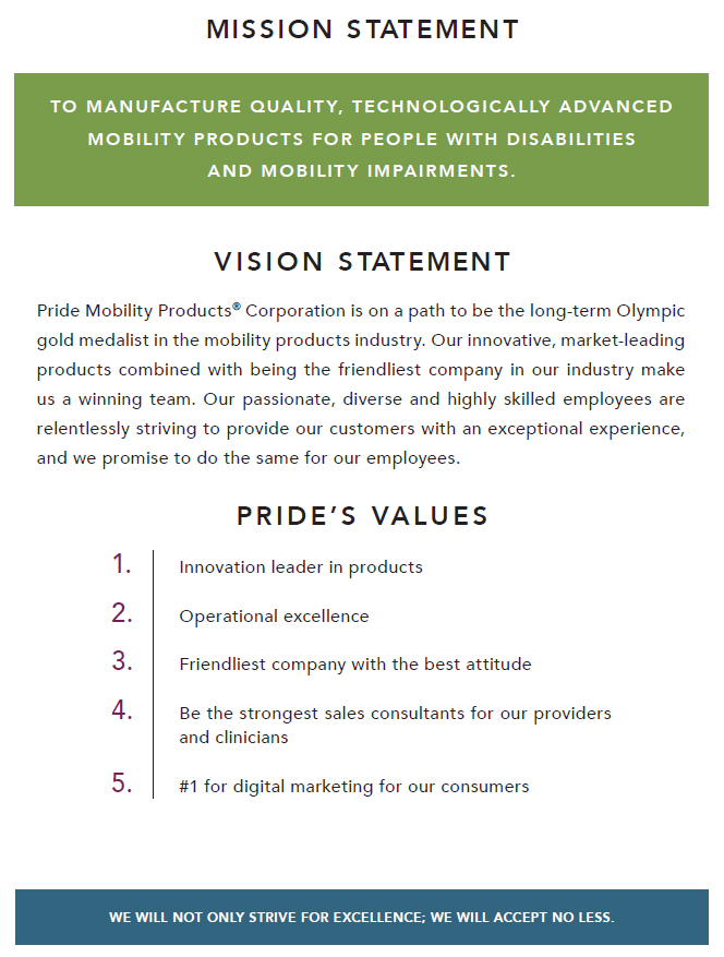 image of pride mobility mission statement