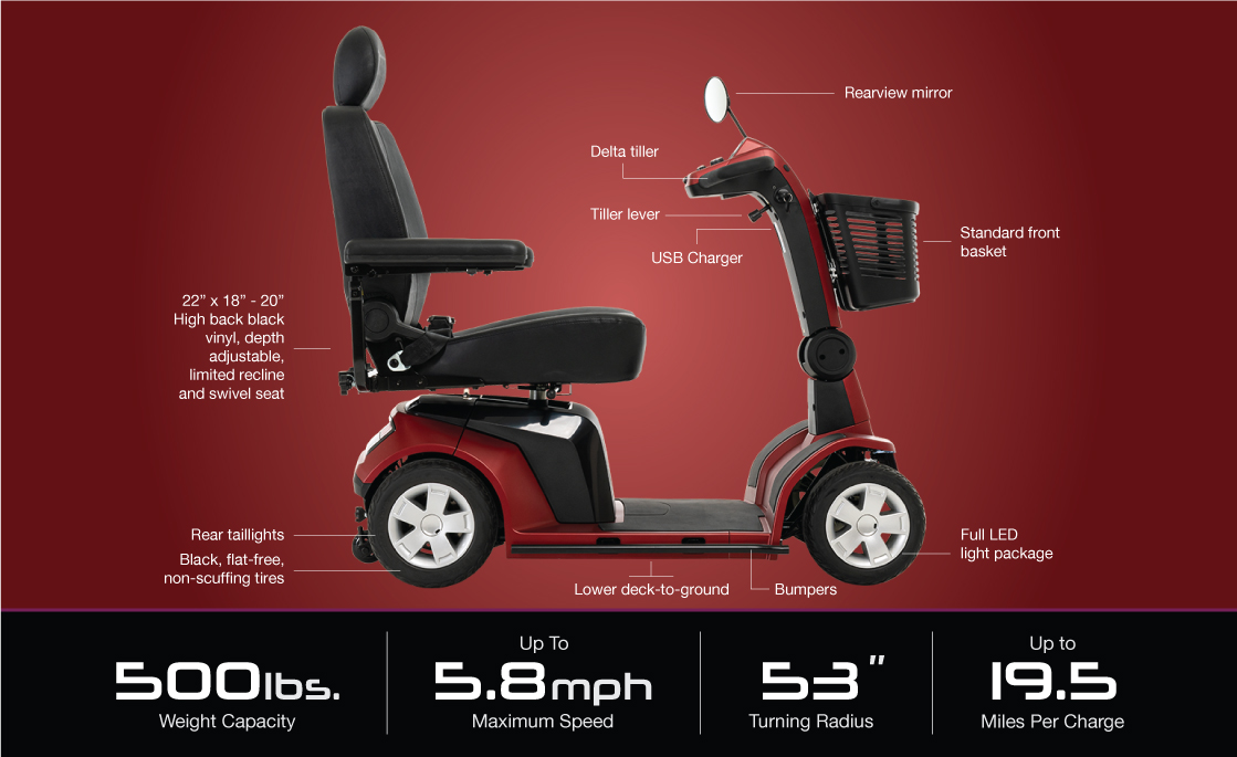 maxima 4 wheel scooter specifications image