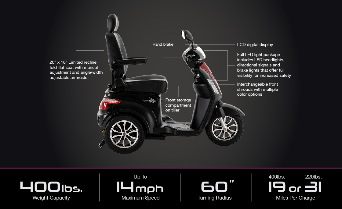 black raptor 3 wheel scooter specifications image