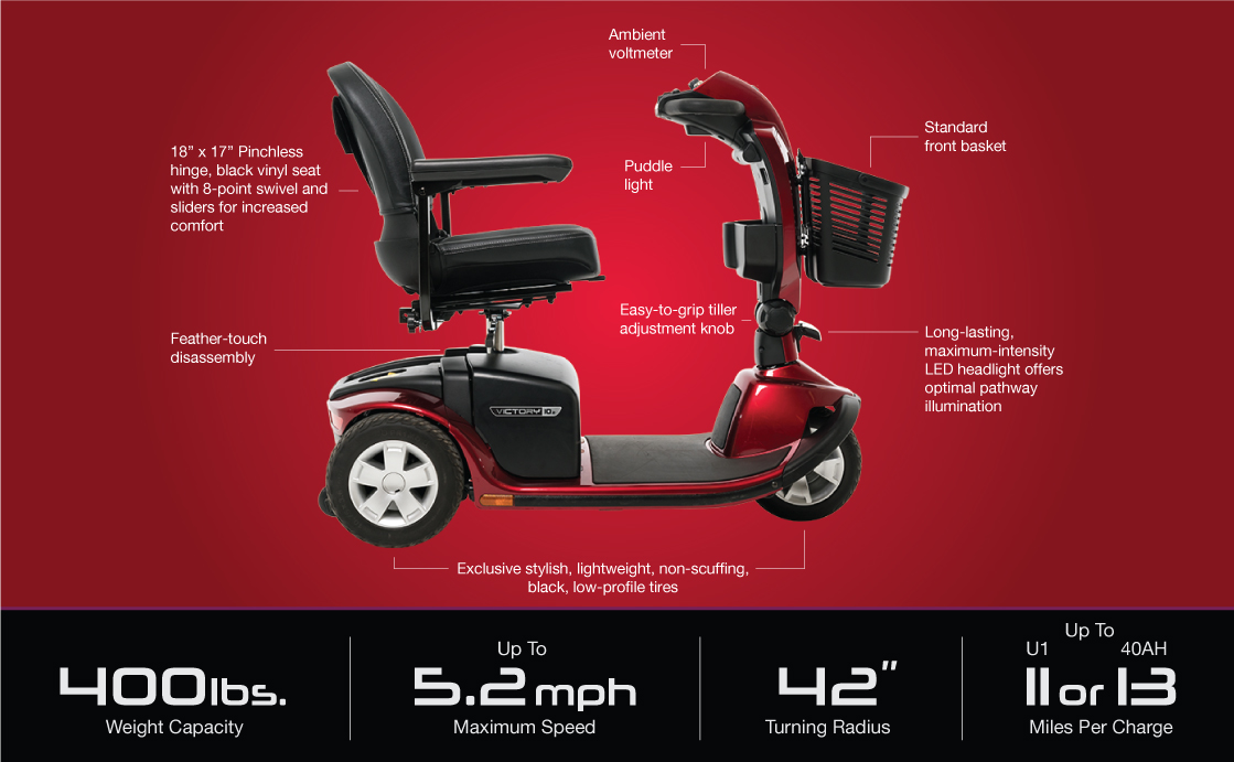 victory 10.2 3 wheel scooter specifications image