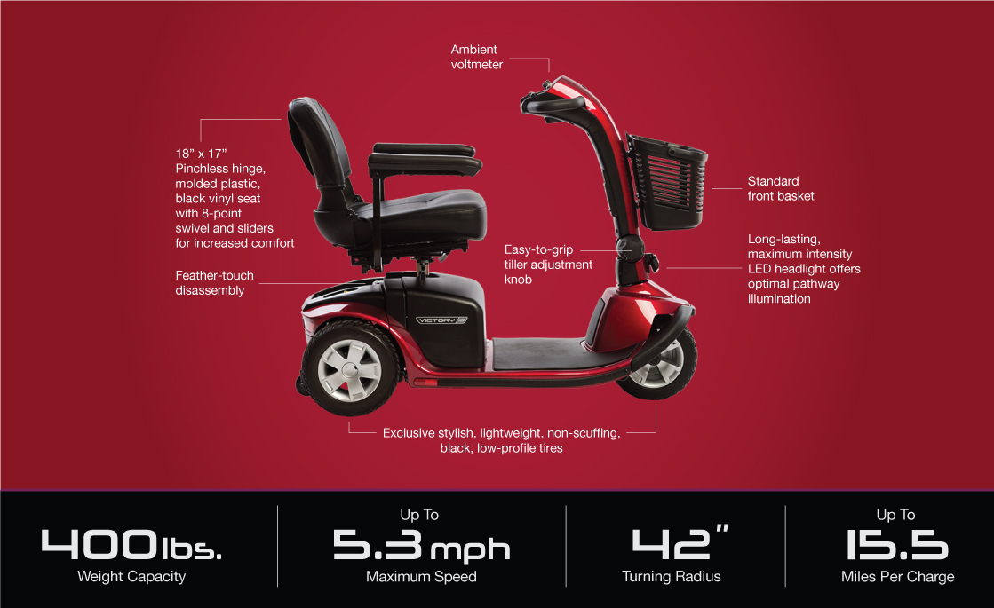 victory 10 3 wheel scooter specifications image