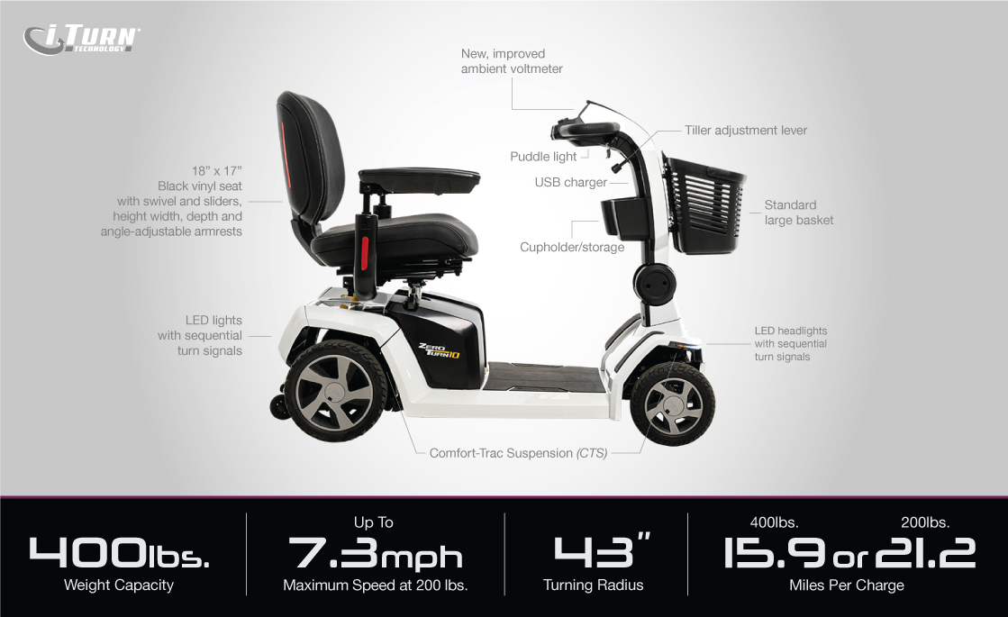 zero turn 10 scooter specifications image