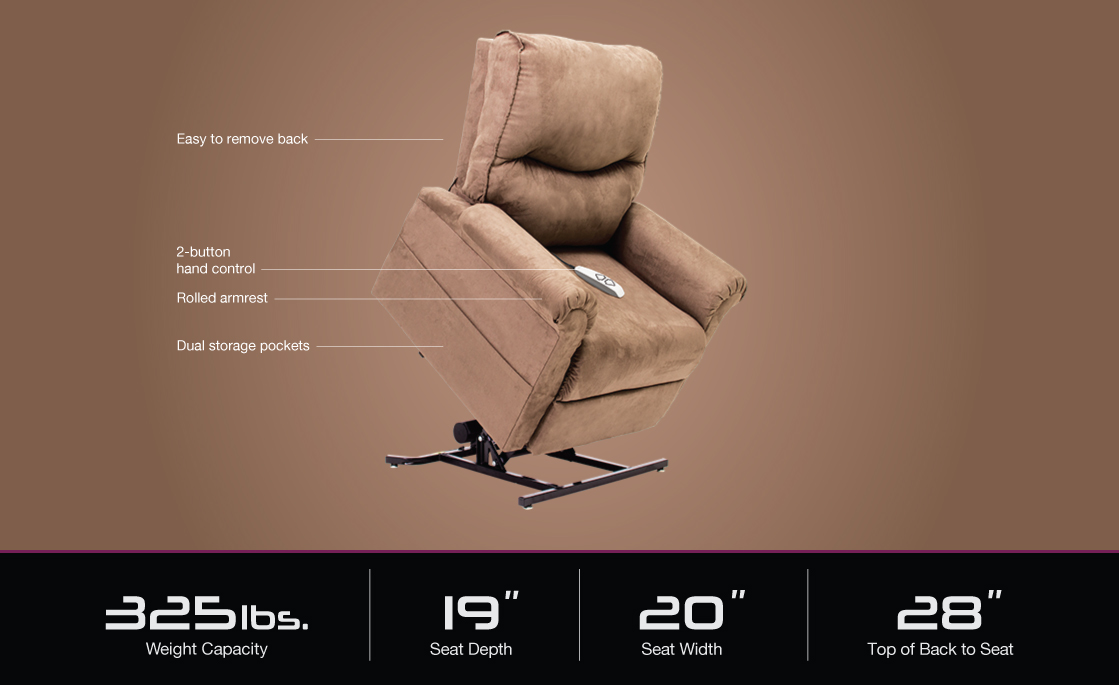 image of lc 105 pride power lift recliner specifications image
