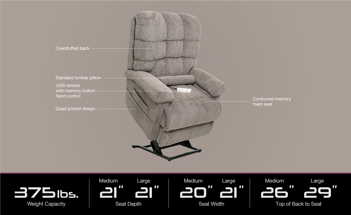 image of lc 580 power lift recliner specifications image